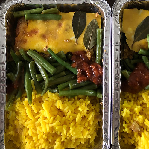 Ostrich Bobotjie with Rice & Green Beans