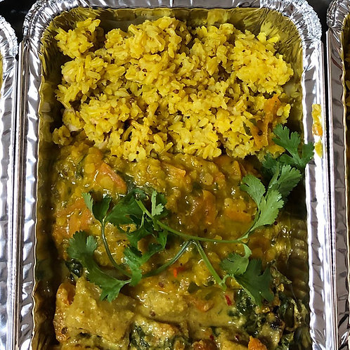 Roasted Veg Coconut Curry with Dhal & Lemon Cashew Rice