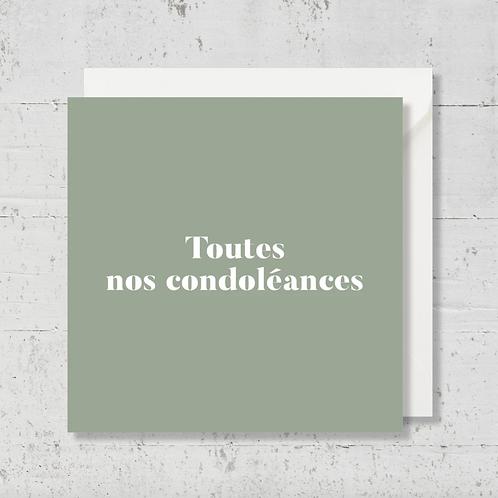 """Carte de voeux """"Toutes nos condoléances"""""""