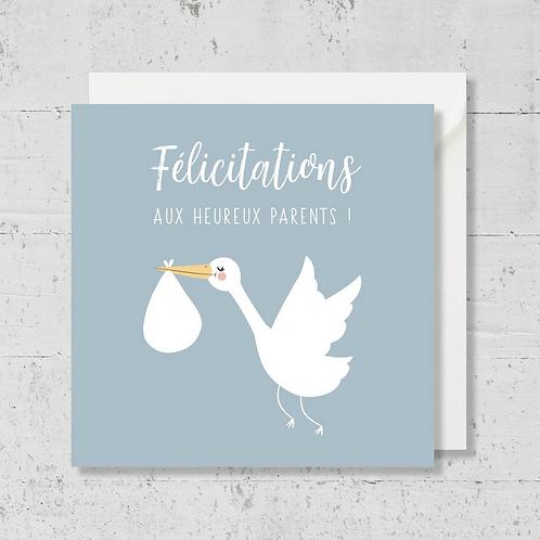 """Carte de voeux """"Félicitations aux heureux parents"""" bleu"""