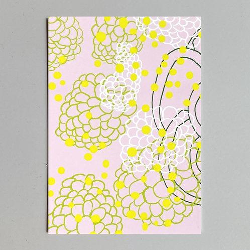 """Carte de voeux """"Dessin fleurs fond rose"""""""