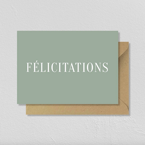 """Carte de voeux double """"Félicitations"""""""