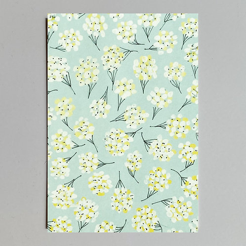 """Carte de voeux """"Dessin fleurs sur fond bleu"""""""