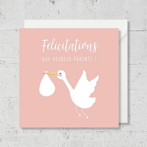 """Carte de voeux """"Félicitations aux heureux parents"""" rose"""