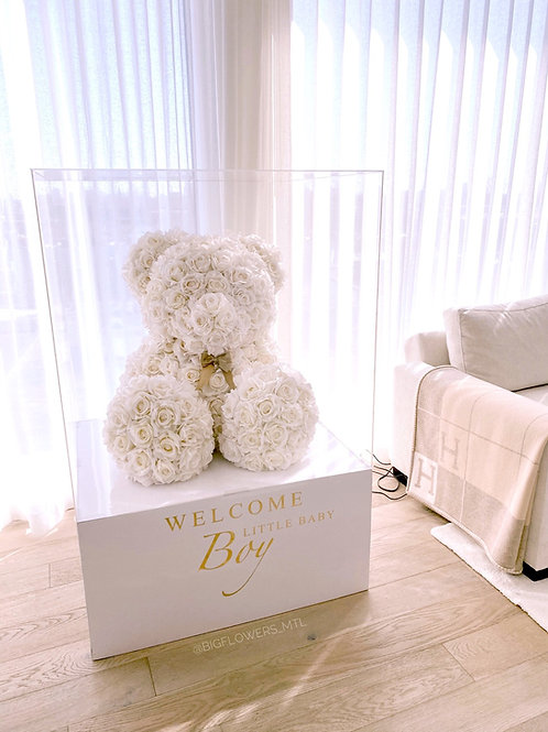 Giant white floral teddy bear