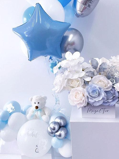 Balloons, flowers, teddy bear : Sweet baby boy