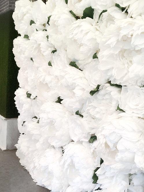 PEONY WALL (ALL WHITE)  8' x 8'