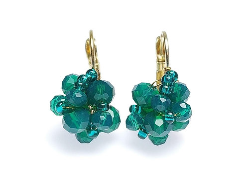 Brinco Naomi, Dourado, cor: Cristal Verde Encanto