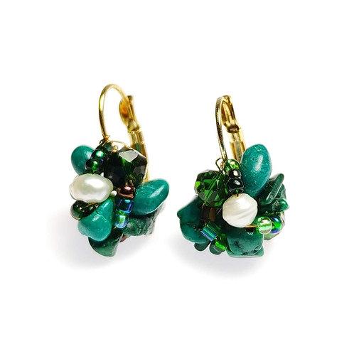 10556 Brinco Naomi, cor: Verde e pérola