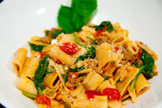 Tuscan Rigatoni w/ sausage, spinach and braised tomatoes