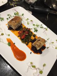 Seared Sesame Tuna with a Red Pepper Aioli