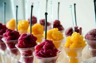Sorbets; Blueberry Pomegranate, Mango Orange,  Lavendar Lemon