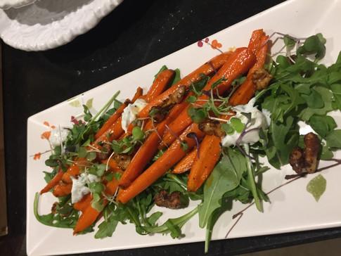 Roasted Glazed Carrot Salad w/ feta dill yogurt & spiced walnuts