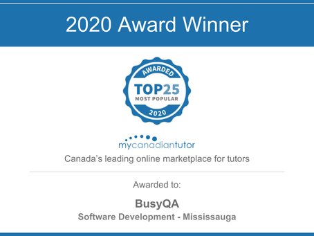 BusyQA Receives 2020 Top 25 Most Popular Tutor Award