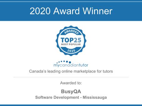 BusyQA Receives 2020 Top 25 Most Popular Tutor Award