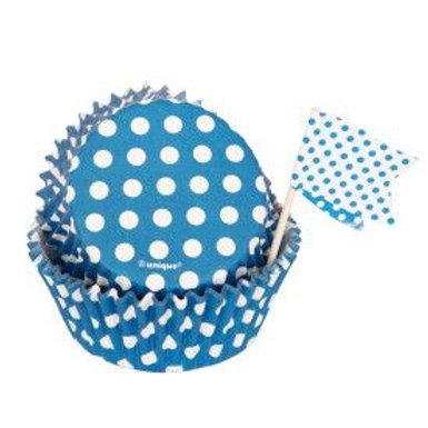 Bake Cup Kit Dots Blue 24