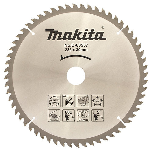 "D-63557 Disco de sierra multiproposito 9 ¼"" x 30 mm x 60 dientes"
