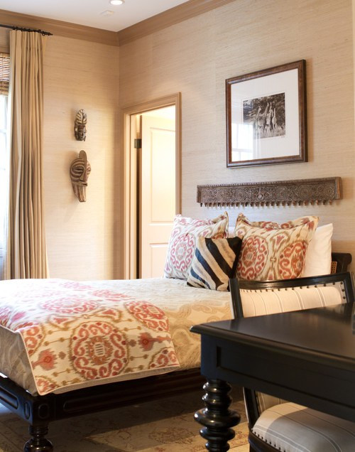 Antique wood details traditional bedroom