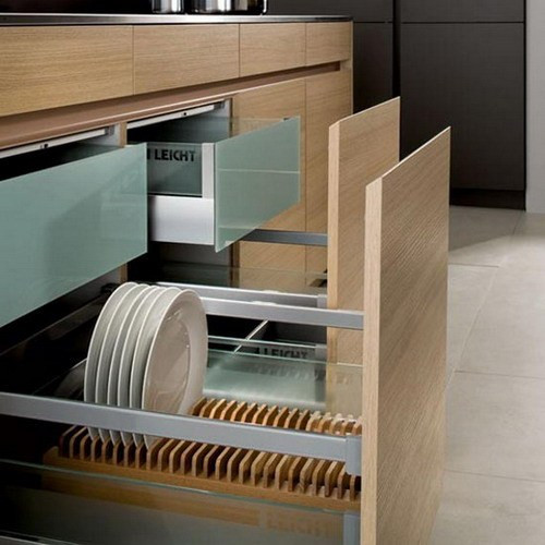 Extraordinary-kitchen-storage-design-to-save-kitchen-areas-stainless-steel-countertops-wooden-cabinets-plate-cabinet-white-porcelain-floor-black-wall