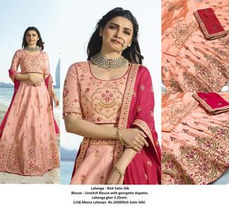 1158.Meera Lahenga -Rs.1050(Rich Satin Silk)