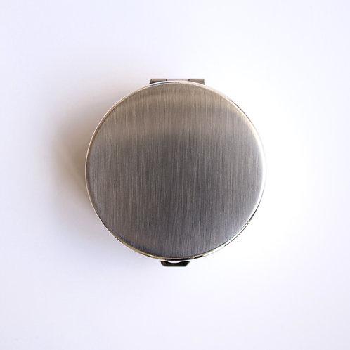 Round Pill Box (silver satin)
