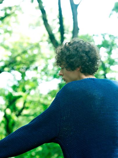 Linen tape Basque sweater