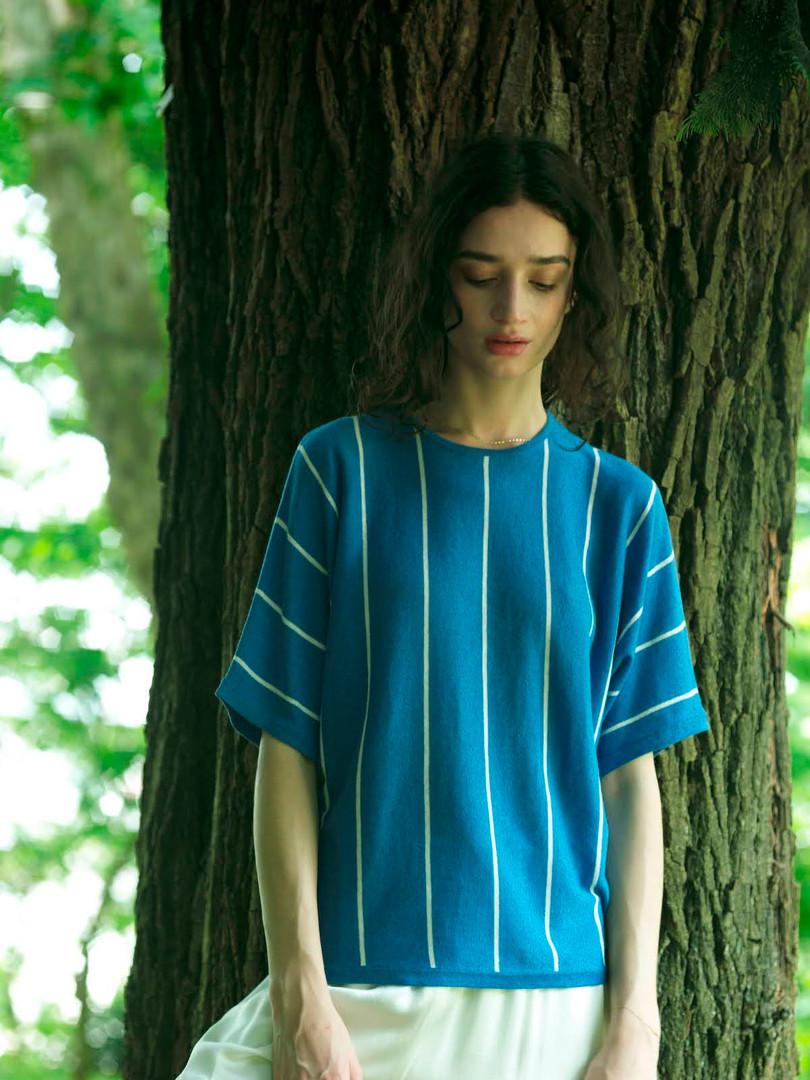 Cotton linen striped Dolman-sleeve knitwear