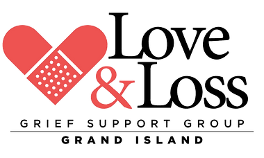 Love and Loss Grief Support Group logo, heart made of bandages