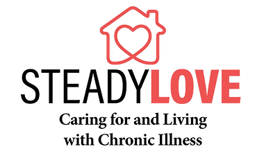 Steady Love Chronic Illness Support Group logo, house with a heart inside