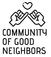 Community of Good Neighbors logo, hands holding a heart