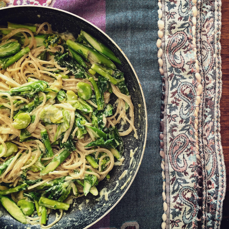 春野菜のカルボナーラ