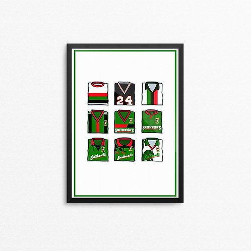 Glentoran Kits Print - A4