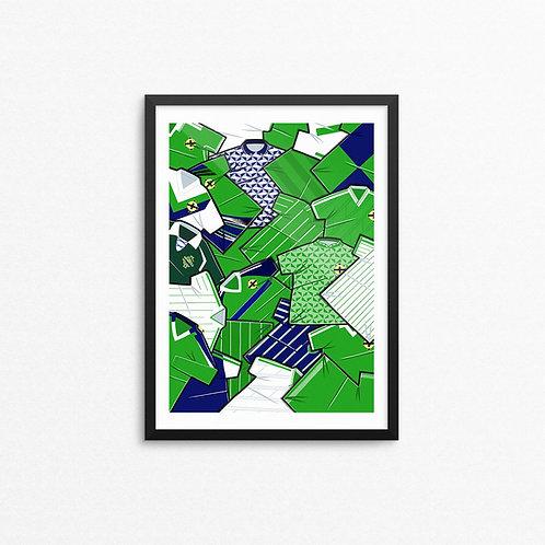 Northern Ireland Kit Collage Print - A4