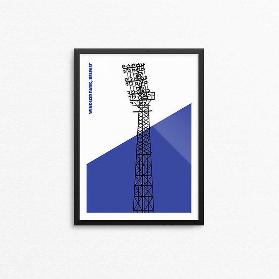 Linfield Floodlights Print - A4