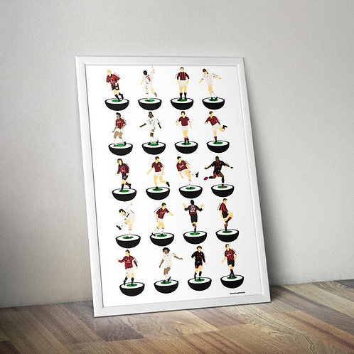 AC Milan Subbuteo Legends A3 Print