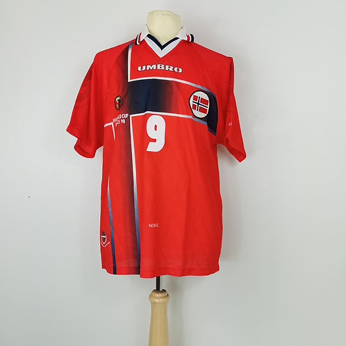 Norway World Cup 98 Home - Size L - T.A.Flo 9