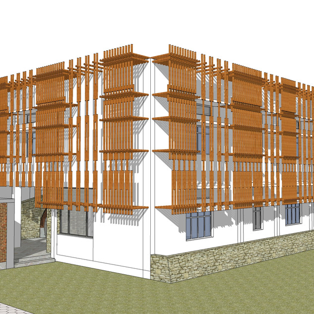 primary block with bamboo facade