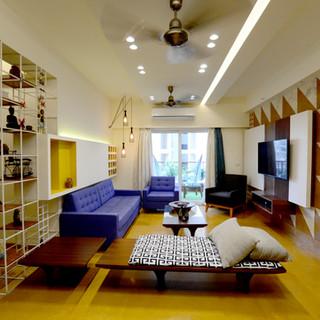 Wooden diwan with Indigo couches