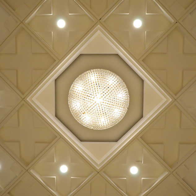 false ceiling with chandelier