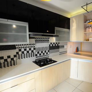 kitchen with white quartz counter