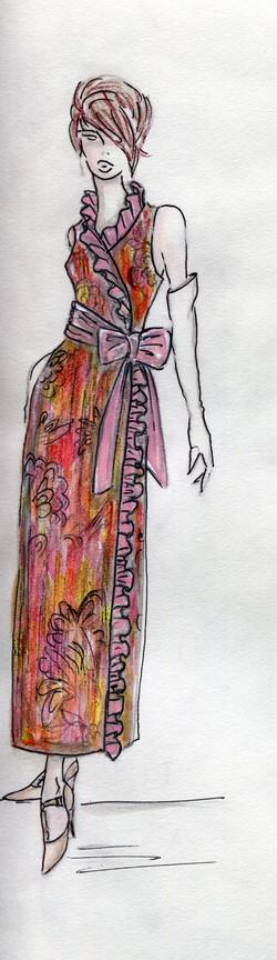 Ruffle wrap dress color003