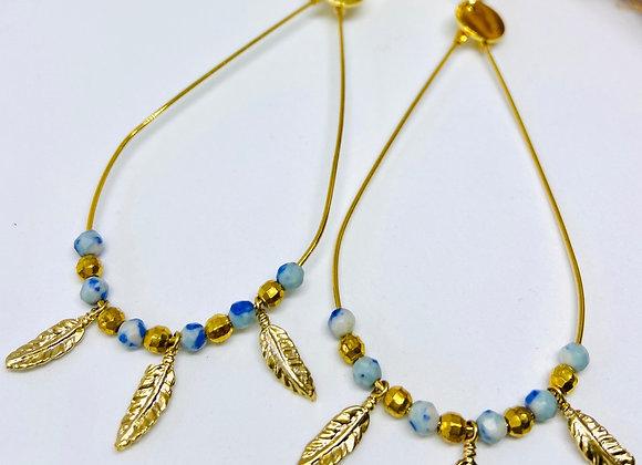 Boucles d'oreille Boho Agate bleue