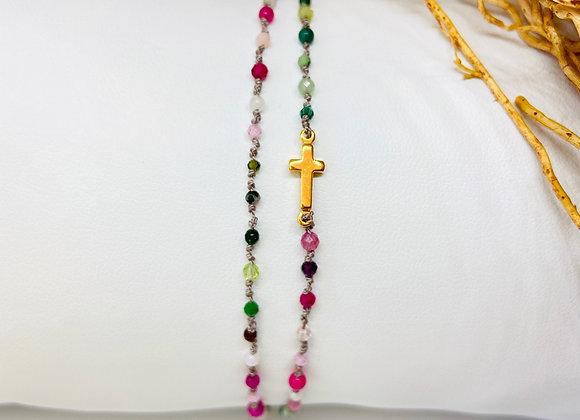 Bracelet Eternel croix San remo double