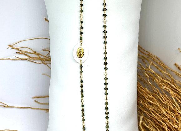 Sautoir Bracelet Félicité Madone Agate mousse