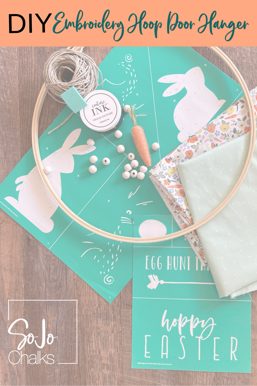DIY Embroidery Hoop Door Hanger Project | SojoChalks.com | Chalk Couture