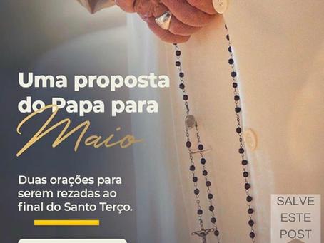 Papa Francisco e sua proposta de Oração para maio