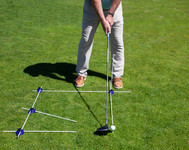 Setup for driver with Foot, Ball, Downswing Path and Backswing/Target and Vertical Alignment Guide Rods