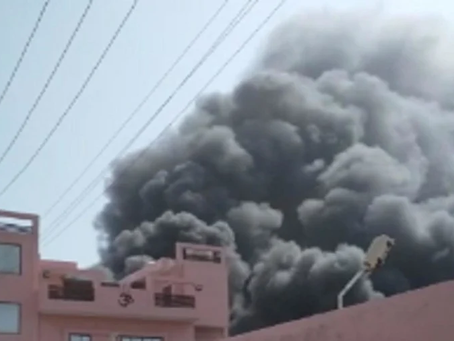 Fire broke out in a chemical factory near Shiva College in Ghaziabad on Aug 15