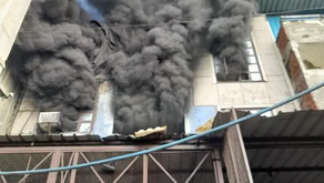 Fire ignited in a paper plate factory in Narela Industrial area, New Delhi on Oct 9.