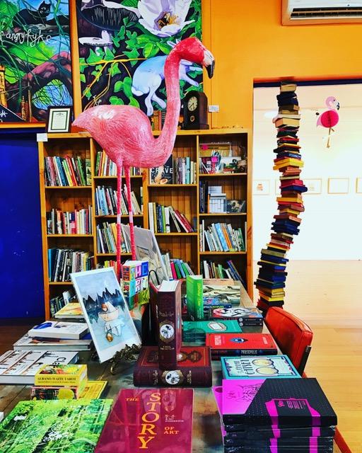 Flamingo/Book Stack